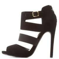 Black Qupid Cut-Out Caged Peep Toe Heels by Qupid at Charlotte Russe