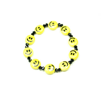 Smiley Face and Bead Stretch Bracelet