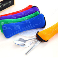Portable Stainless Steel Tableware Camping Bag Picnic Juegos De Vajillas Lunch Box Lancheira 3pcs/set