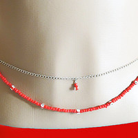 red beaded silver belly chain, bikini jewelry, body chain, sexy jewelry, beach body chain, summer jewelry, adjustable, evil eye bead