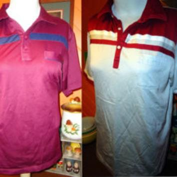 SALE lot of 4 XL vintage polyester golf polo shirts Bold Stripes Arnold Palmer ARNIE