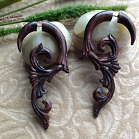 "Fake Gauge Earrings, ""Ivy"" Naturally Organic, Sono Wood, Hand Carved, Tribal"