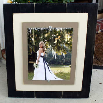 Distressed Picture Frame 8x10 with Double Wood Mats  Black & Tan
