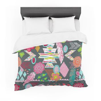 "Anneline Sophia ""Aztec Boho Tropical"" Gray Rainbow Featherweight Duvet Cover"