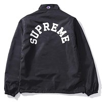 Champion & Supreme co-branded tide brand lapel pullover embroidery trench coat F-A-KSFZ black