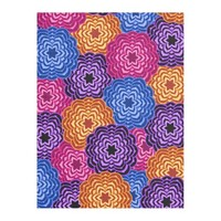 Colorful Rainbow Multicolored Floral Pattern Fleece Blanket