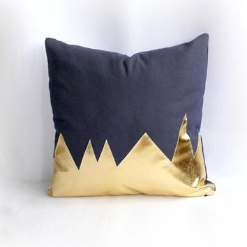Mountians Navy & Metallic Gold Pillow Cover Gorgeous Home Decor Navy And Metallic Gold Cushion Cover. Throw Pillows Cushions