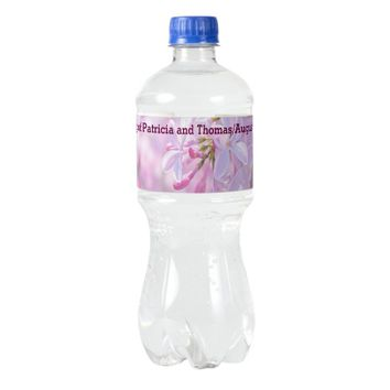 Pink lilac flowers water bottle label