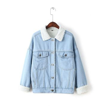 Winter Fur Denim Jacket Women Bomber Jacket Blue Jeans Jacket Coat with Full Warm Lining & Front Button Flap Pockets 6111101