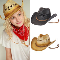 New Mens Unisex Western Style Wide Brim Straw Cowboy String Hat Cap Summer Beach