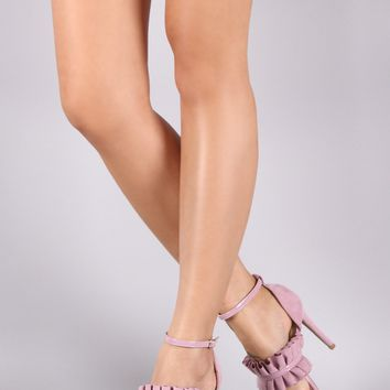 Qupid Pleated Suede Ankle Strap Stiletto Heel