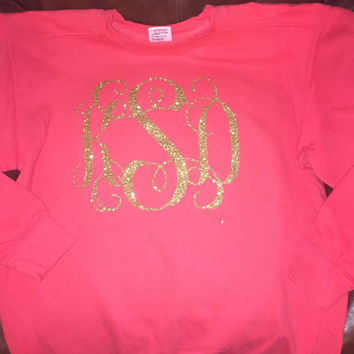 Glitter Monogram Sweatshirt, Girly Sweatshirt, Custom Monogram Shirt, Personalized Clothing, Monogrammed Shirt
