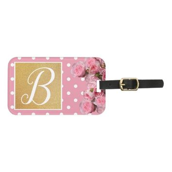 Pink Polkadot and Peonies Luggage Tag | Zazzle.co.uk