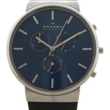 Skagen Skw6105 Chronograph Ancher Black Leather Strap Watch By Skagen For Men - 1 Pc Watch