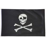 Large Skull And Crossbones Pirate Flag 5' x 3' Jolly Roger Hanging With Grommets = 1929718276