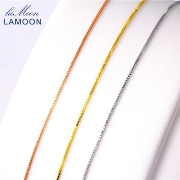 Lamoon Simple 40+5cm 925 Sterling Silver Box Chain Necklace for Men and Woman CI001