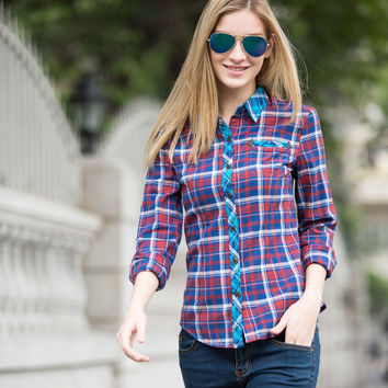 Veri Gude Women's British Style Plaid Shirt Contrast Color Front and Cuffs