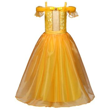 Girls Cartoon Fancy Dress Kids Yellow Shoulder Princess Party Dress Beauty and the Beast Belle Cosplay Kid Long Halloween Dress