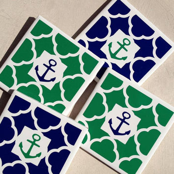 Set of 4, Nautical Navy and Green Patterned with Anchor Coasters