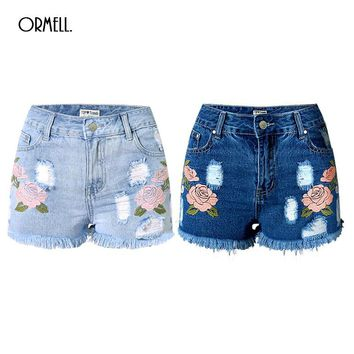 High Waist Denim Shorts Plus Size S 3XL Flower Embroidery Female Short Jeans for Women 2016 Summer Ladies Hot Shorts