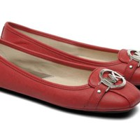 Michael Kors RED Leather Flats Fulton Moc Shoes Size 7 M NEW