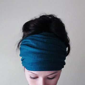 PEACOCK BLUE Head Scarf - Bohemian Hair Wrap - Dark Teal Ear Warmer, Head Warmer - Jersey Hair Accessory - Ecoshag