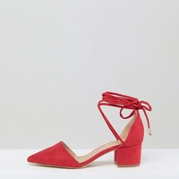 RAID Lucky Red Ankle Tie Mid Heeled Shoes at asos.com