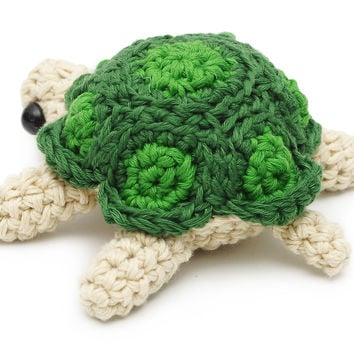 Cream-Green Turtle Handmade Amigurumi Stuffed Toy Knit Crochet Doll VAC
