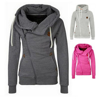 7 Colors Women's Sports Personality Side Zipper Hooded Cardigan Sweater Jacket  S/M/L/XL/XXL [9222485060]