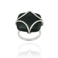 Sterling Silver and Onyx Square with Rope Pattern Frame Ring