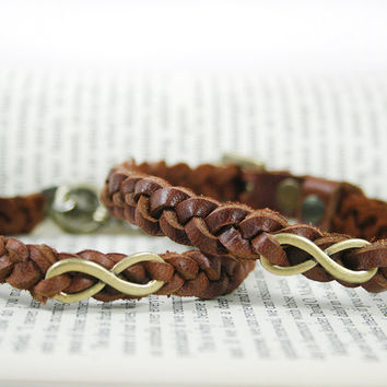 Braided Leather Bracelet with Infinity Charm