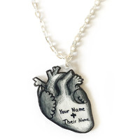 Custom Name Anatomical Heart Necklace