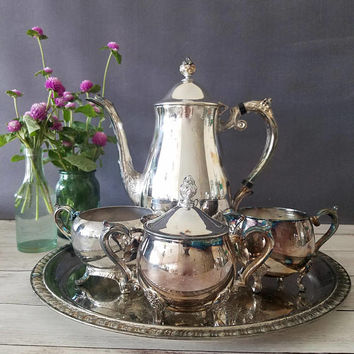 Leonard Silver Plate Tea Set/ Coffee Set/ Tea Set/ Vintage Silverplate Hollowware Tea Service by Leonard Silver Mfg Co/ Tea Pot/ Coffee Pot