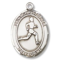 "St. Christopher Sports Track & Field Sterling Silver Medal with 18"" Sterling Chain Patron Saint"