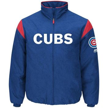 Men's Chicago Cubs Majestic Royal On-Field Therma Base Thermal Full-Zip Jacket