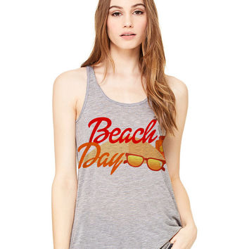Grey Tank Top - Beach Day - Ladies Womens Racerback Beach Summer Outfit Spring Sand Sunglasses