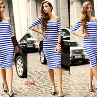 2015 Women Girls Spring Clothing Sexy Stripe Casual Long Dress Slinky Bodycon Dress for Girls
