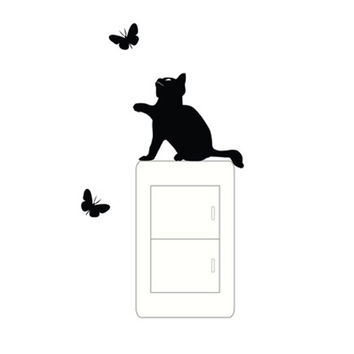 Top Grand Newly Design Black Cat Switch Stickers Funny Kitty Wall Sticker Home Decor Decals Art Mural Baby Nursery Room