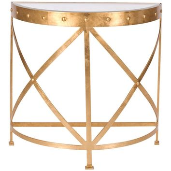Worlds Away Grove Studded Console Table