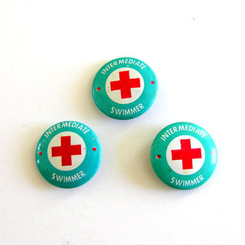 Red Cross Pin Swimming Lessons Vintage Pinback Button Turquoise White Instant Collection Summer Fun