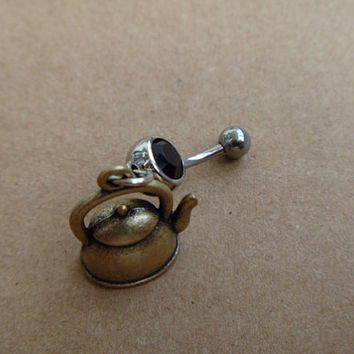 Bronze Teapot Charm Belly Button Ring, Crystal Belly Ring,