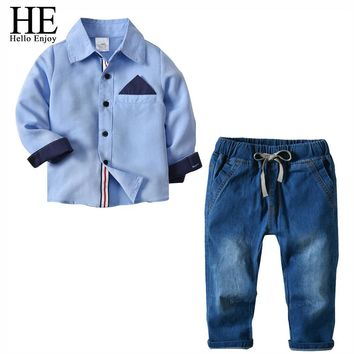 Trendy HE Hello Enjoy Kids Clothing Sets 2018 New Arrivals Baby Boys Clothes Fall Long Sleeve Shirts+Denim Jeans Gentleman Formal Suits AT_94_13