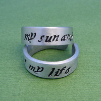 Game of Thrones Inspired - My Sun and Stars & Moon of My Life - A Pair of Hand Stamped Adjustable Aluminum Rings