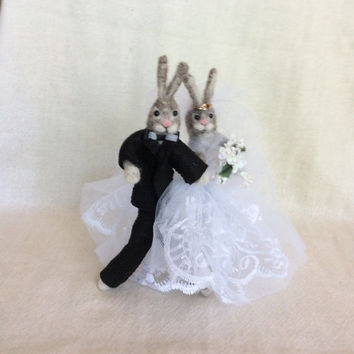 Needle felted rabbit ( Hare ) wedding cake topper Free Shipping doll miniature unique gift one of a kind Needle felting sculpture figurine