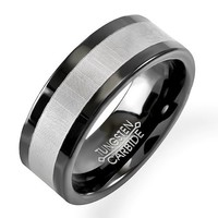 Tungsten Carbide Unisex Wedding Band 8MM (5/16 inch) Flat Black Gray Center Comfort Fit (Size 8 to 12)