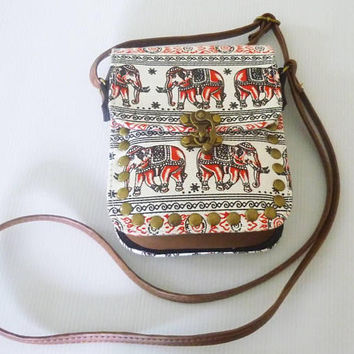 Crossbody bags Small square shoulder bag elephant red tribal fabric fake leather bag wide 12.5 cm. Cross body bag Handbags/ purse