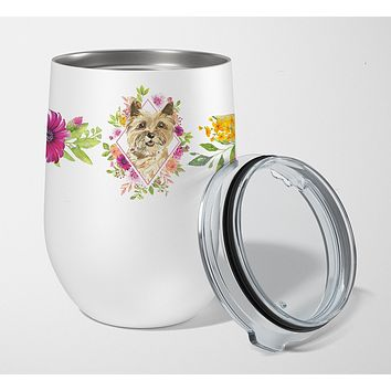 Cairn Terrier Pink Flowers Stainless Steel 12 oz Stemless Wine Glass CK4250TBL12
