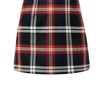 Orange Check Mini Skirt