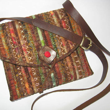 FREE SHIPPING! Fall Batik Small Purse Crossbody Bag Adjustable Leather Strap