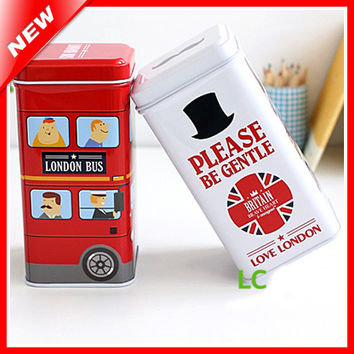 London Style Home Decorative Coffee Tin Boxes For Candy Biscuit Storage Container Tea Caddy/Kitchen Storage Can Sundry Organizer